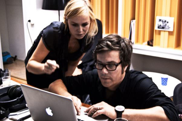 Sofia Talvik and producer Christian Hörgren discussing the recordings