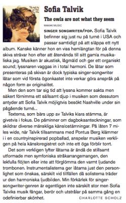 Review of Sofia's new album in Lira