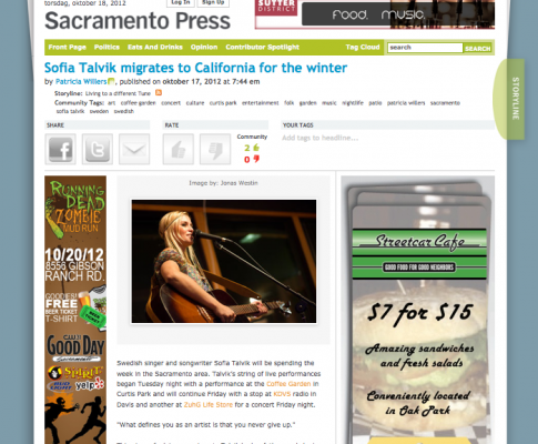 Sacramento Press about my show at The Coffee Garden