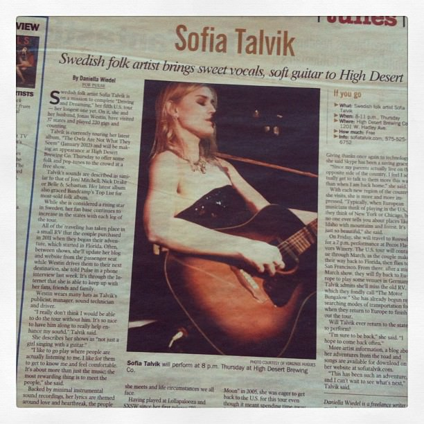Sofia Talvik in Silver City Sun News