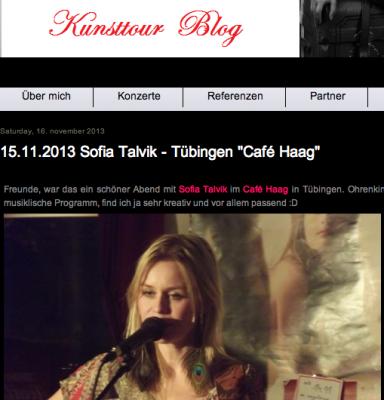 Sofia Talvik on Kunsttour blog
