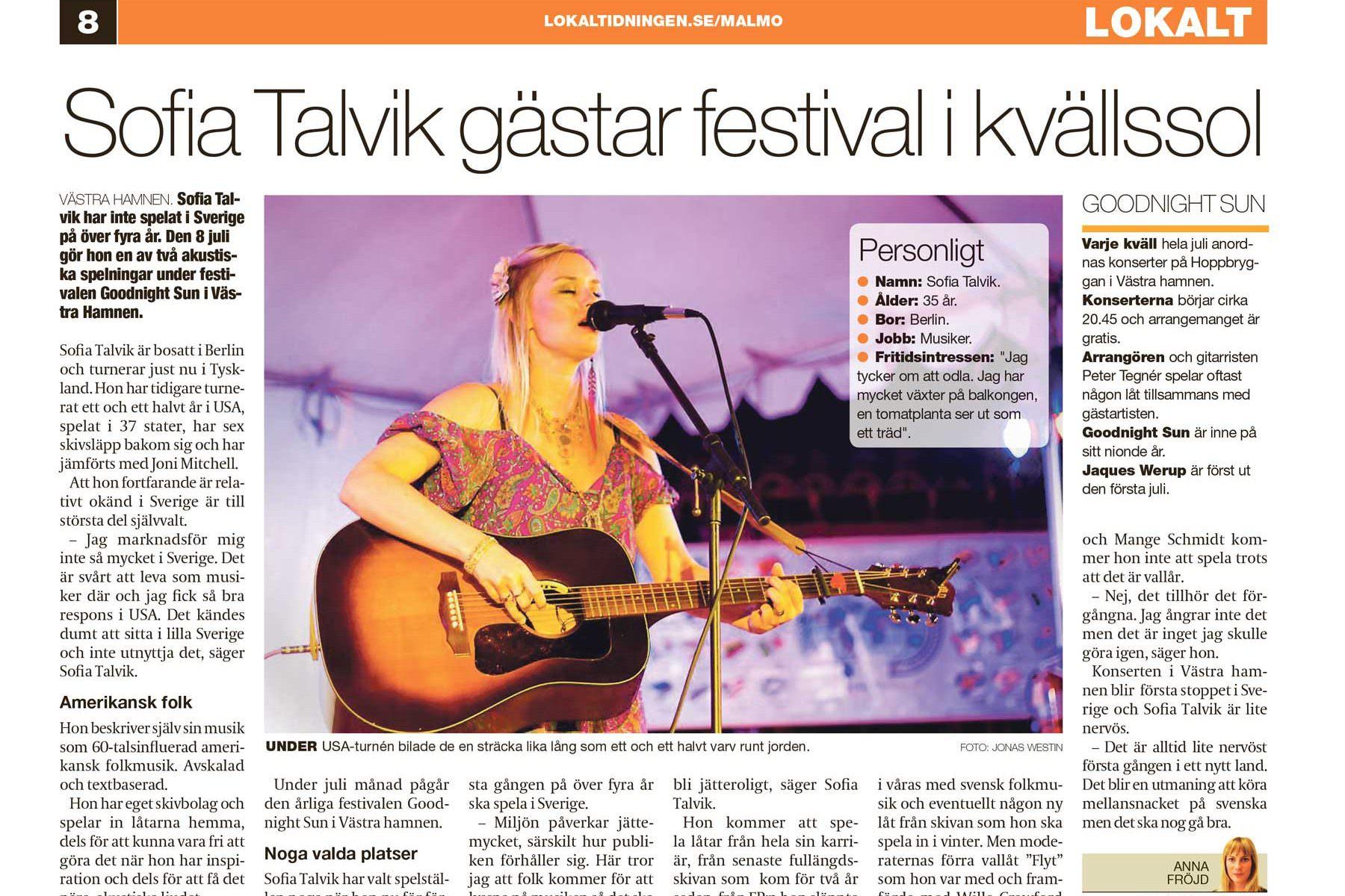 Sofia Talvik in Malmö Lokaltidning