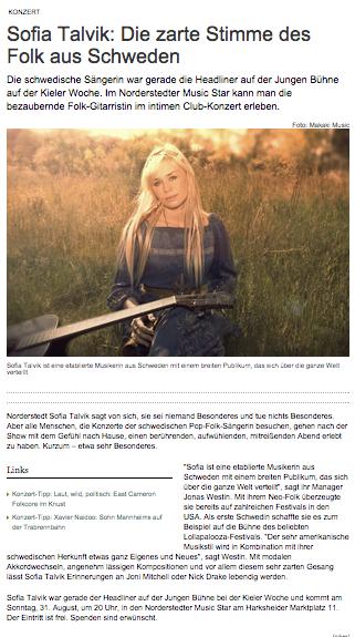 Sofia Talvik in Hamburger Abendblatt